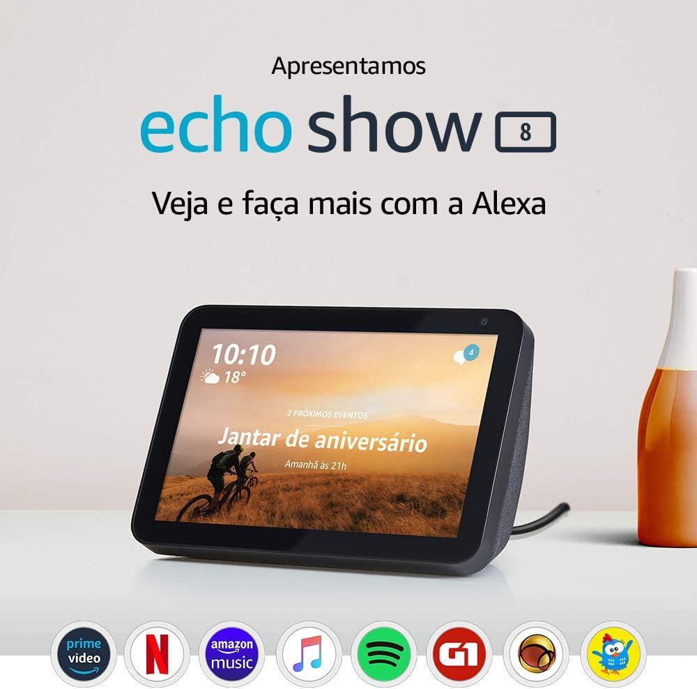 Echo Show 8 (1ª Geração): Smart Speaker com tela de 8″ e Alexa – Cor Preta