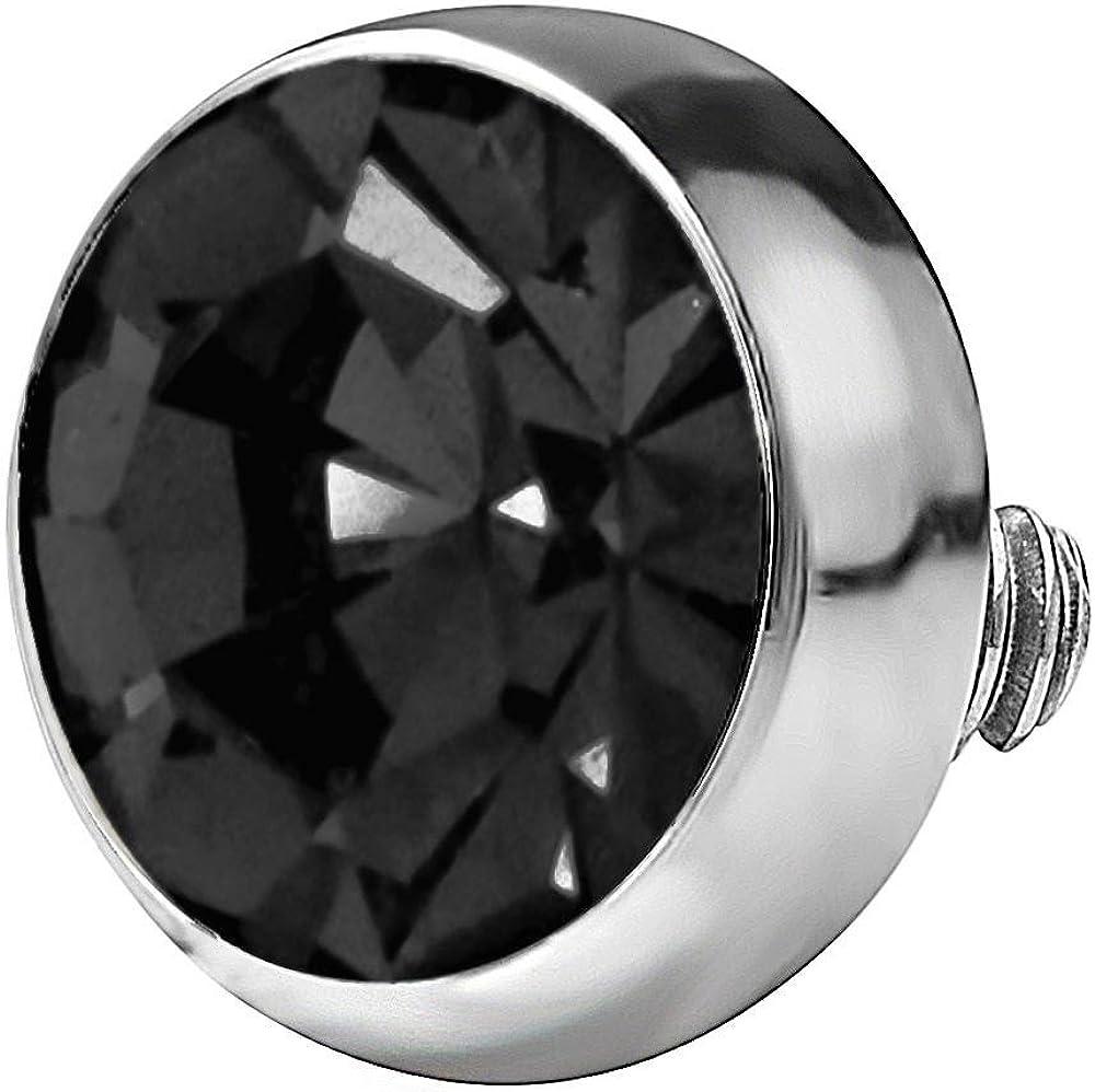 Forbidden Body Jewelry 14g 316L Internally Threaded Ultra Thin Flat Disc Black 4.4 mm Gem Top for Dermal Piercing
