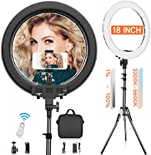 Ring Light, FOSITAN 19 inch Out/14 inch Inner Ring Light with Stand for Camera and phone 3200K-5900K 60W 512 LED Bi-Color Brightness Dimmable Halo Light Circle Light for Make-up YouTube Video Shooting