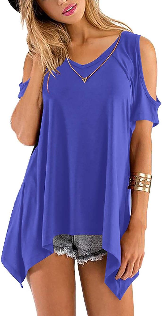 Florboom Women Short Sleeve Cold Attention brand Shoulder Loose Top Shi Soldering Blouse T
