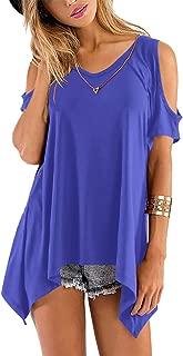 Florboom Womens Tshirts Plain V Neck Cold Shoulder Flare Tunic Top T Shirts