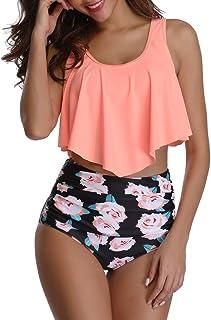 Ugitopi Trajes de Baño Ajustables de Cintura Alta para Mujer, Bikinis Trajes (Orange Rose,M)