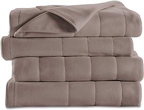 Sunbeam Heated Blanket | 10 Heat Settings, Quilted Fleece, Mushroom, Queen - BSF9GQS-R772-13A00