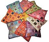 Pushpacrafts - Copricuscini quadrati indiani, complemento d'arredo, in stile vintage, in cotone, con ricami e patchwork, 41x 41cm, lotto di 10 pezzi