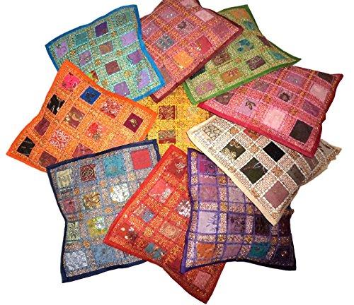 Funda de cojín cuadrada de algodón con bordado y mosaico diseño clásico para decoración del hogar (41 x 41 cm, 10 unidades). De Pushpacrafts.