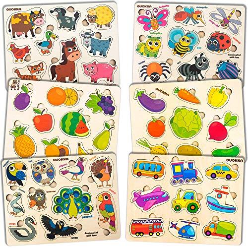 Puzzles Infantiles de Madera Niños 1 2 3 Años - Juguetes Bebes Montessori Bichos, Animales, Frutas - 6 Educativos Rompecabezas Juegos Regalo Preescolar de Aprendizaje Temprano para Niñas y Niños
