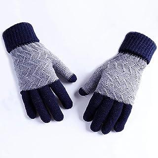 HAOSHUAI Herfst Mobiele Telefoon Touch Screen Gebreide Wol Warme Vinger Oogst Handschoenen, Ridding handschoenen (Kleur : Blauw)