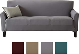 Stretch Strapless Couch Slipcover Includes Lint Roller. Furniture Protector Featuring Super Soft Jersey Knit Fabric. Seneca Collection (Sofa, Grey)