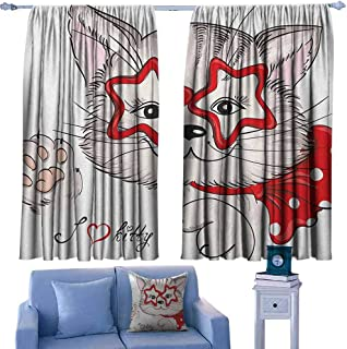 Mannwarehouse Kids Privacy Curtain Fashion Portrait Hipster Cat with Star Shaped Glasses and Bow I Love Kitty 70%-80% Light Shading, 2 Panels,63