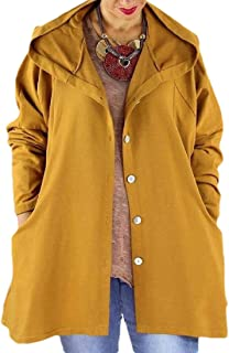 Macondoo Women Outwear Loose Hooded Single Breasted Trench Coat with Pocket