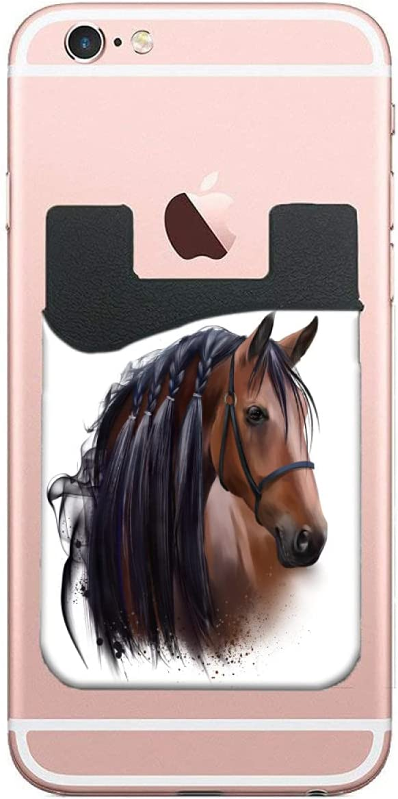ZXZNC Card Holder for Back of Phone Watercolor Horse's Head Leather Phone Pocket Phone Case Credit Business Id Card Holder Sleeve Adhesive Stick On Wallet for Back of Cell Mobile Smart Phone