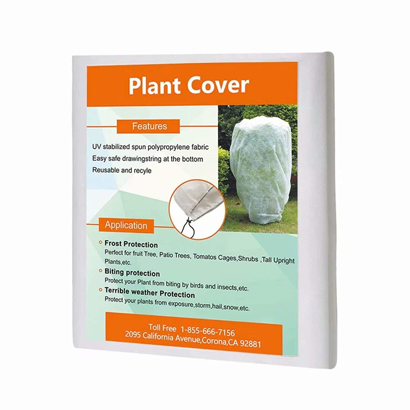 Agfabric Square Plant Cover for Freeze Protection - 1.5 oz 96''x96'' Shrub Jacket,Rectangle Plant Cover with Zipper for Bug/Insect Barrier