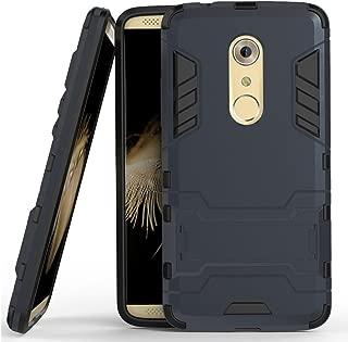 MicroP Axon 7 Case, ZTE Axon 7 Case, (TM) Dual Layer Armor Hard Slim Hybrid Kickstand Phone Cover Case for ZTE Axon 7 (Navy Blue Kickstand Case)
