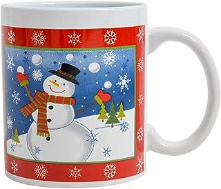 Koffiemok mok mok theekop wit met motieven - 330ml Kerstmis ontbijt koffiekrans voor dames en heren (sneeuwman)
