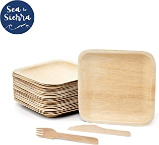 "Sea to Sierra 8"" Square Palm Leaf Plates, Wood Forks & Knives (Set of 25) Heavy Duty Disposable Dinnerware, Perfect for Weddings, Baby Showers, Picnics & Catered Events, Bamboo-Chic & Biodegradable"