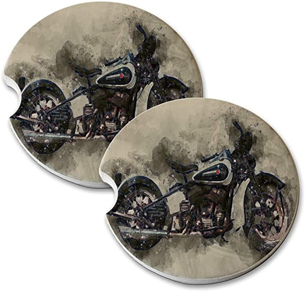 New Vibe Harley Motorcycle Watercolor Painting Round Absorbent Natural Stone Car Coaster Set Set Of 2 Auto Drink Coasters