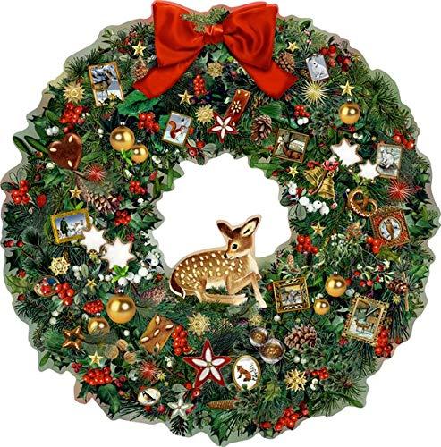 A3 Wandkalender - Kleiner Weihnachtskranz mit Reh