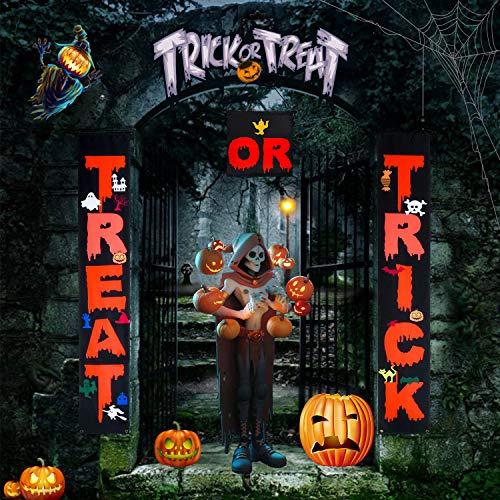 KATELUO Halloween Banner, Halloween Deko Set,Halloween Hängen Dekorationen,Halloween deko Garten,Halloween Tür Couplet Außendekoration für Innen- und Außenbalkon Dekoration (180cm * 30cm)
