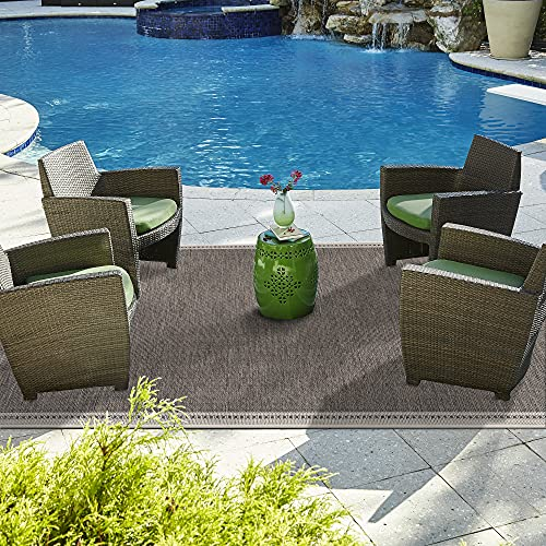 FirsTime & Co. Taupe Bermuda Indoor Outdoor Area Rug, Plastic Straw, 5' x 8'