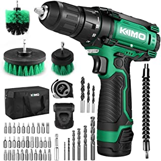 Cordless Drill/Driver Kit, 48pcs Drill Set w/Lithium-Ion Battery Brushes Tape Measure..