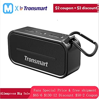 Tronsmart T2 Wireless Bluetooth Portable Speaker 24h Playtime with Mic Waterproof IPX5 Outdoor Speaker (Black