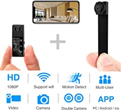 Hidden Spy Camera,1080P WiFi Mini Camera Portable Wireless Security Cameras Video Recorder IP Cameras Nanny Cam with DIY Interchangable Lens/Motion Detection for Indoor Outdoor Monitoring