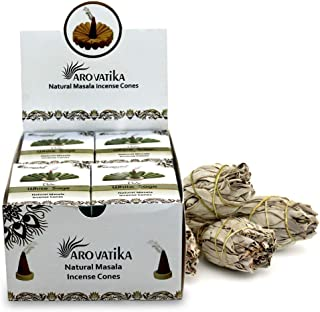 ARO VATIKA Vedic White Sage Natural Masala Incense Cones 120 Cones in Pack of 12 Boxes   Best for Prayer, Meditation and R...