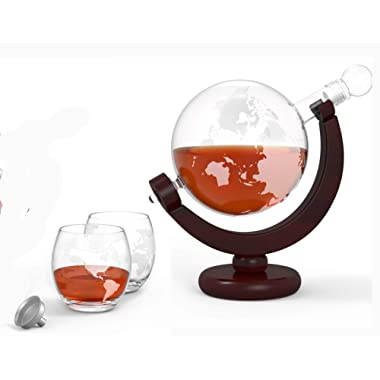GlobeTrotter Etched Globe Spirits Decanter - SALE - 30% OFF. Includes Matching Glasses and Bar Funnel – 850 ml Whiskey and Wine Decanter in Wood Frame - The Perfect Gift for Whiskey Lovers!