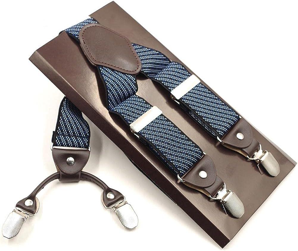 Man'S 4 Clips Braces Elastic Adjustable Suspensorio Bretelles Tirantes Casual Trousers Strap