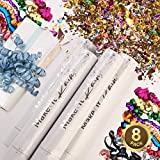 PRIMEPURE Premium Party Confetti Cannon - Set of 8 - (Includes Streamer Cannons and Confetti) for Birthday, Graduation, New Years Eve, and Any Other Party or Celebration