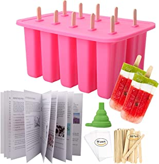 Homemade Popsicle Molds Shapes, Food Grade Silicone Frozen Ice Popsicle Maker-BPA Free, with 50 Popsicle Sticks 50 Popsicle Bags(10 Cavities Pink)