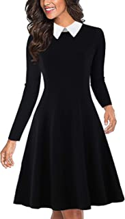 Women's Long Sleeve Peter Pan Collar Swing A-Line Party Casual Skater Dress