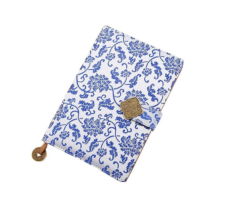サスペンド連結する暗唱する耐久性のある古典的なノートブックレトロブロケードカバーノートグレートギフト青と白