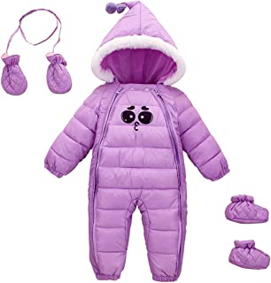 Happy Cherry Winter Baby Girl Hooded Romper Jumpsuit Zipper Snowsuit with Gloves