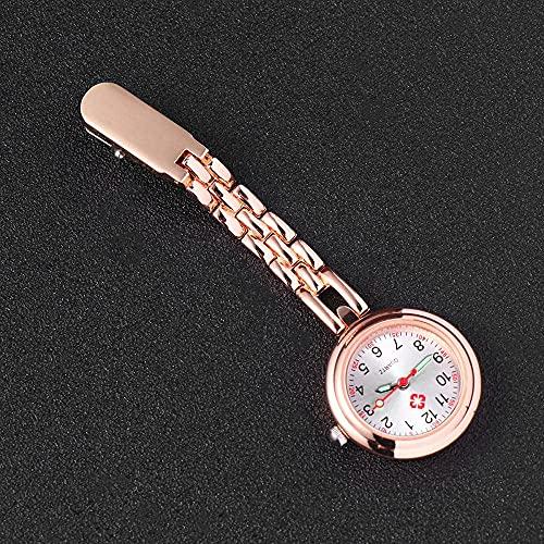 Reloj de Bolsillo Reloj de Enfermera Superficie de Cuarzo Clip Simple Reloj Colgante Reloj de Cadena de Enfermera Reloj Colgante de Mesa de Enfermera Reloj con Alfabeto-Oro Rosa