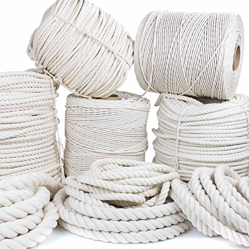 GOLBERG Twisted 100% Natural Cotton Rope - White Cotton Rope - (5/32 Inch x 10 Feet)