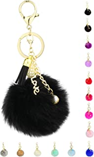 Key Chain Accessories for Women - Black Fluffy Pom Pom with Key Ring