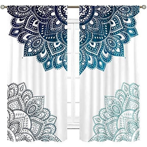 Cinbloo Henna Mandala Cortinas de tela fina (no se oscurecen), bolsillo para barra de cortinas, color azul y blanco con estampado de flores para sala de estar, recámara, ventana, tratamiento de 2 paneles, 41 (ancho) x 160 (largo) pulgadas