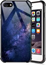 iPhone 8 Case,iPhone 7 Case Starry Sky,Shiny Galaxy Space Tempered Glass Pattern Painted Mirror Bumper Cover for iPhone 7/8- Blue Nebula
