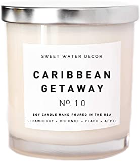 Caribbean Getaway Natural Soy Wax Candle White Jar Silver Lid Scented Strawberry Coconut Melon Peach Apple Pear Fruit Summer Decor Gift Bathroom Accessories Made in USA Lead and Gluten Free Wick