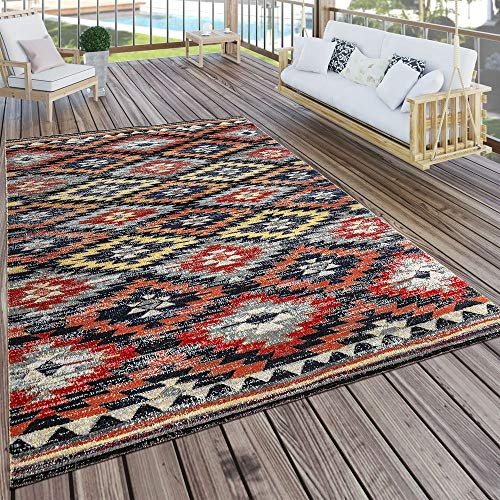 Paco Home In- & Outdoor Teppich Modern Zickzack Muster Terrassen Teppich Wetterfest Bunt, Grösse:80x150 cm