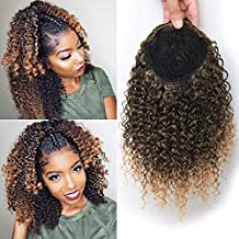 Short Afro Kinky Curly Ponytail Hair Piece for African American Ponytail Extension Synthetic Afro Kinky Curly Ponytail for Women (Mix Golden(1B/27#))