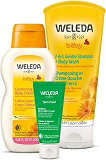 Weleda Mama and Baby Essentials 3-Piece Set: 2in1 Calendula Shampoo and Body Wash, Calendula Body Lotion, and Skin Food