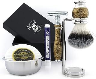 Zestaw do golenia w stylu vintage dla mężczyzn - tradycyjna maszynka do golenia z podwójnymi krawędziami z syntetycznym wł...