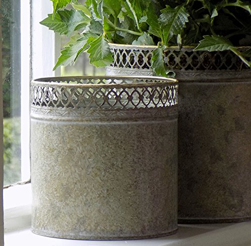 Medium Regency rond Pot de fleurs en métal Gris