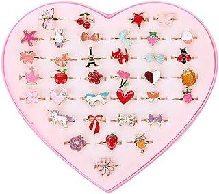 Yinuneronsty - Juego de 36 anillos para niños, diseño de flores y animales, aleación ajustable