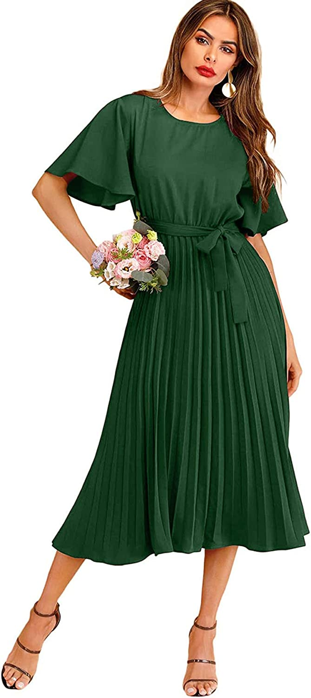 Milumia Women's Elegant Belted Pleated Flounce Sleeve Long Dress