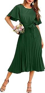 Women's Elegant Belted Pleated Flounce Sleeve Long Dress