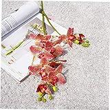 XKJFZ Rojo Artificial 2 Tallos de orquídeas Ramas 3D Impreso 7 Jefes Mariposa Phalaenopsis Flores para el hogar de la Boda decoración de DIY