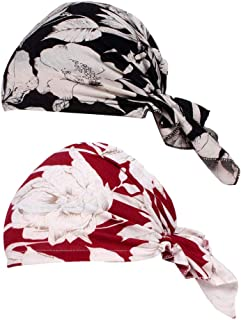 F Fityle 2Pcs Women's Soft Chemo Cancer Cap Wrap Headscarf Hat Headwear For Hair Loss